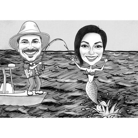 Funny Couple Fishing Caricature in Black and White Style with Custom Background - example