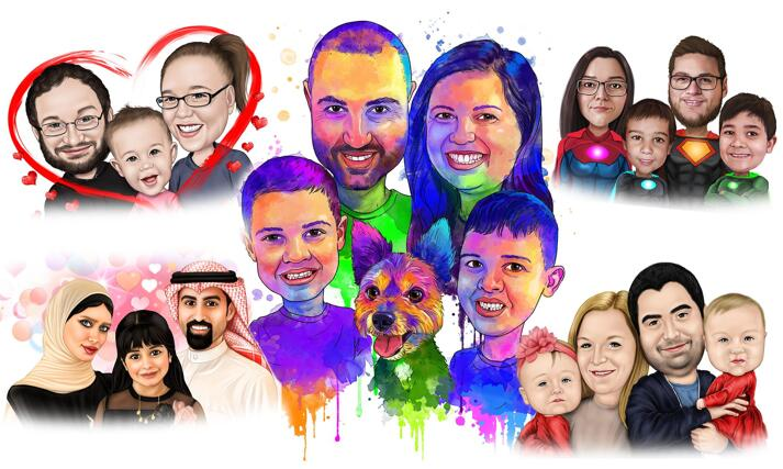 Parents with Kids Caricature large example