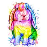 Sweet Bunny Cartoon Portrait i helkroppstyp akvarellstil från Foto