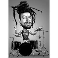 Trommel-Personen-Karikatur im Schwarz-Weiß-Stil aus Fotos