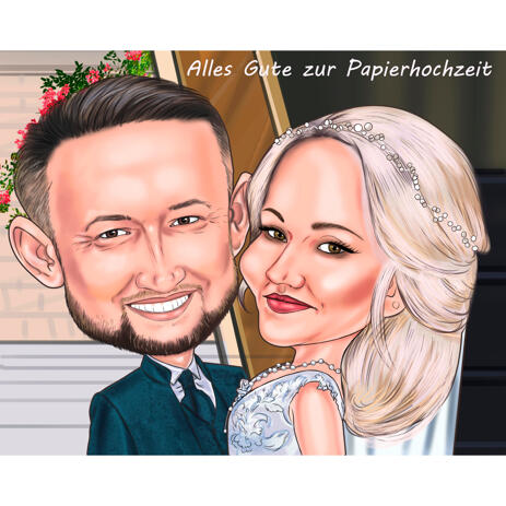 Caricature High Couple Wedding Cartoon Drawing for Lifetime Lasting Gift - example