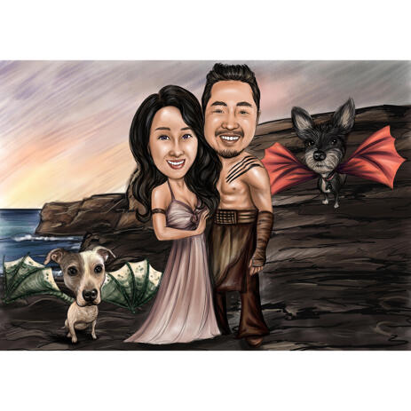 Couple with Pets Caricature as Any Movies Characters - example