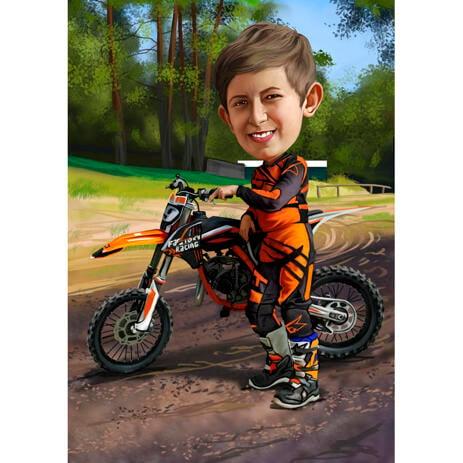 Карикатура ребенка на мотоцикле нарисованная с фото - example