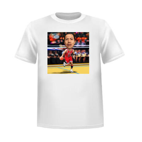 Sport Caricature of Person Hand Drawn in Colored Style with Custom Background as T-shirt Print - example