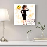 Personalized Canvas Print: Full Body Colored Digital Drawing of Woman in Cartoon Style