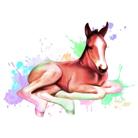 Full Body Watercolor Horse Portrait in Pastel Coloring - example