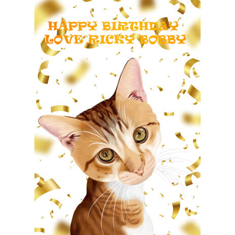 Funny Happy Birthday Pet Caricature from Photos for Custom Pet Gift Idea - example