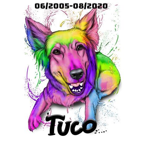 Pamětní portrét psa s jménem a daty ve stylu akvarelu - example