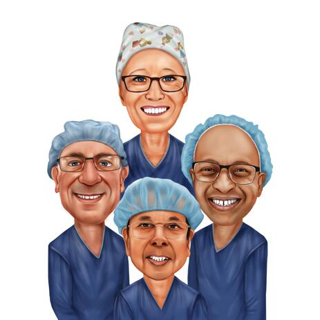 Group of Doctor and Nurses for Medical Group Caricature - example