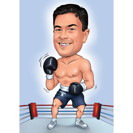Boxer on Ring Caricature from Photo with One Colored Background - example