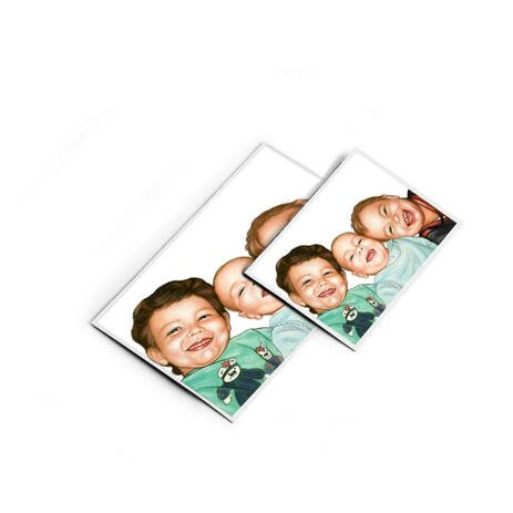 Brothers Caricature from Photos as Magnets - example