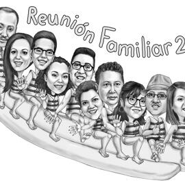 Familientreffen-Karikatur aus Fotos