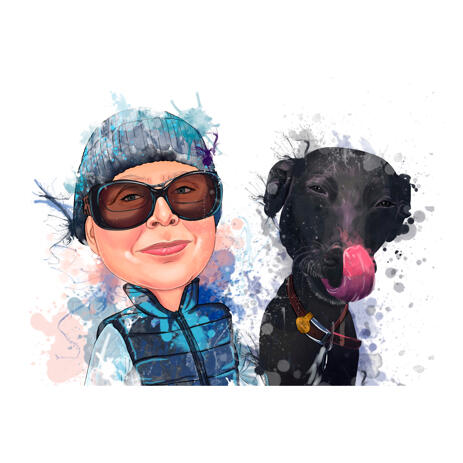 Person and Pet in Pastel Natural Watercolor Style Cartoon Caricature from Photos - example