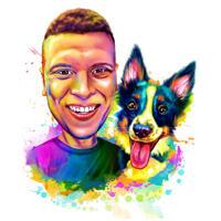 Besitzer mit Border Collie Karikatur Porträt von Fotos in lebendigen Aquarell-Stil gezeichnet