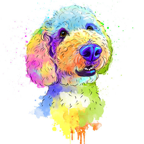 Aquarel Rainbow Dog portret in digitale stijl - example
