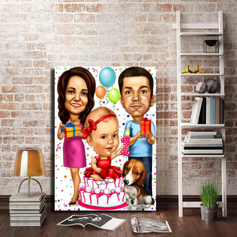 Birthday Family Caricature Printed on Canvas - example