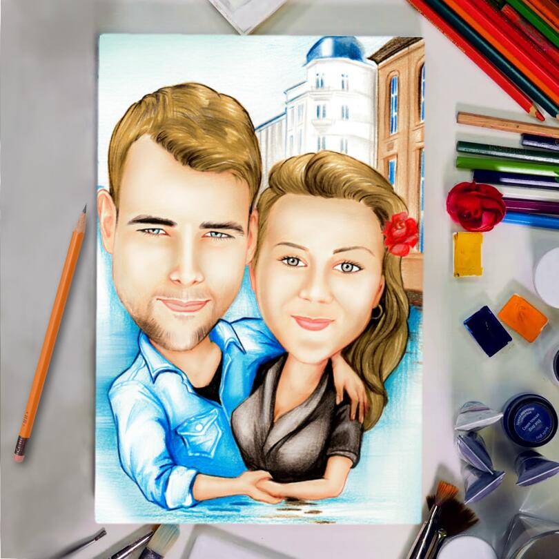 Original Drawing: Custom Couple Cartoon Drawing in Colored Pencils Style