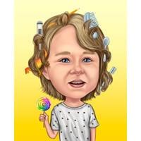 Active Kid Holding Lollipop - Karikaturgeschenk mit farbigem Hintergrund