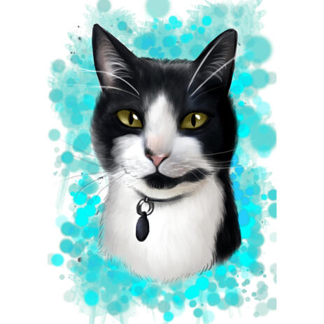 Black and White Cat Cartoon Portrait with Turquoise Background in Watercolor Style - example