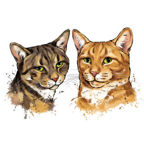 Two Cats Colored Caricature Portrait from Photos in Watercolor Style - example