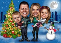 Family Christmas Caricature example 10