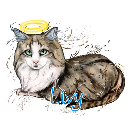 Full Body Cat Memorial Portrait from Photos with Halo - example