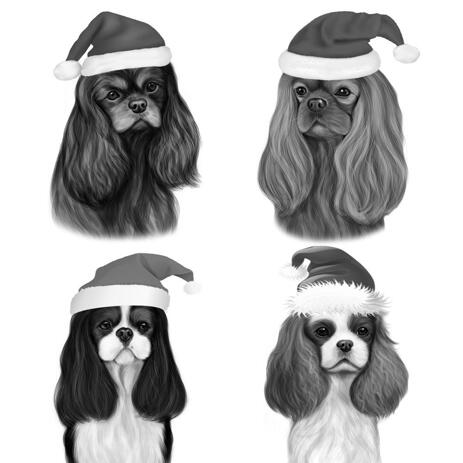 Christmas Dogs Caricature Portrait in Black and White Style - example