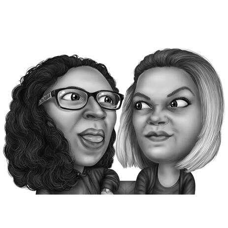 Two Persons Friends Caricature from Photos in Black and White Style - example