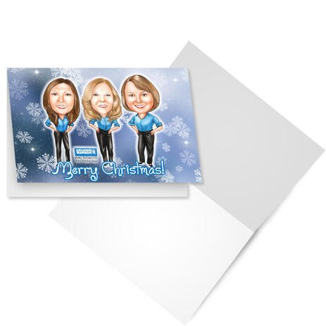 Full Body Coworkers Group Caricature Set of 10 Cards Gift from Photos for Christmas - example