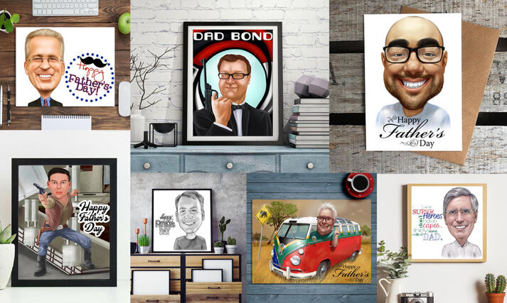 Father's Day Caricature Prints large example