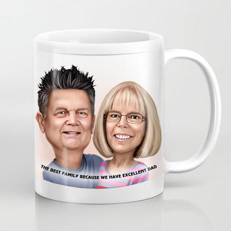 Couple Colored Caricature from Photos for Best Dad Mug Printed Gift on Father Day - example