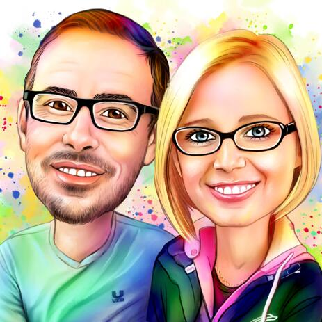 Cute Couple Portrait with Watercolor Splashes in Background - example