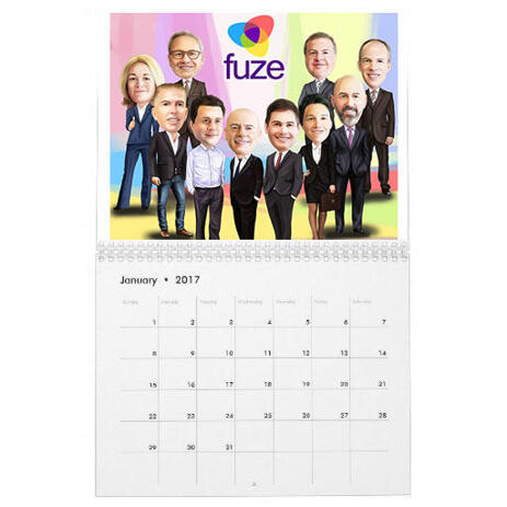 Employees Caricature on Calendar - example