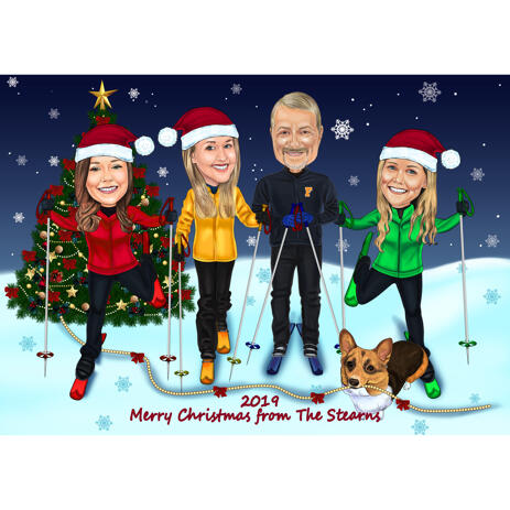 Personalized Christmas Family Caricature from Photos - example
