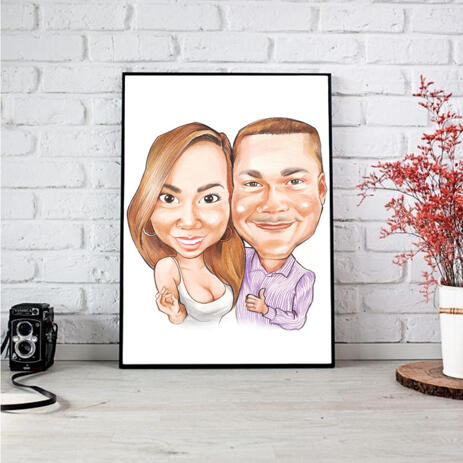 Exaggerated Caricature of Couple in Colored Style on Poster - example