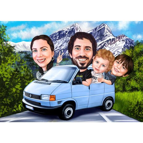 Happy Family Travelling by Bus Caricature with Custom Background - example