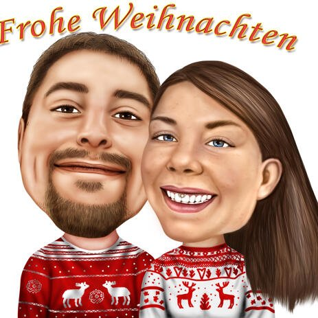 Christmas Couple Caricature for Christmas Card - example
