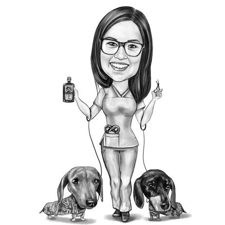 Vet Doctor with Dachshund Dogs Cartoon Portrait from Photo in Black and White Style - example