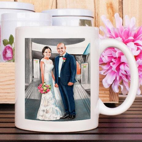 Custom Wedding Drawing on Mug - example