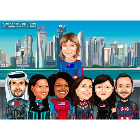 Group Superhero Caricature Drawing from Photos with City Background - example