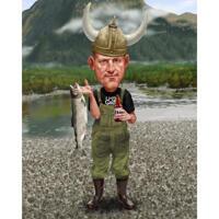 Идея подарка карикатуры рыбака - человек с рыбой и пивом на индивидуальном фоне