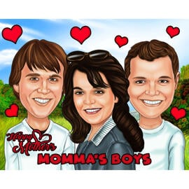 Group Digital Cartoon of Family for Mother's Day Gift