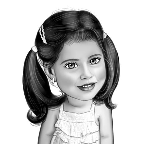 Kid Girl Fashion Caricature in Black and White Style from Photo - example