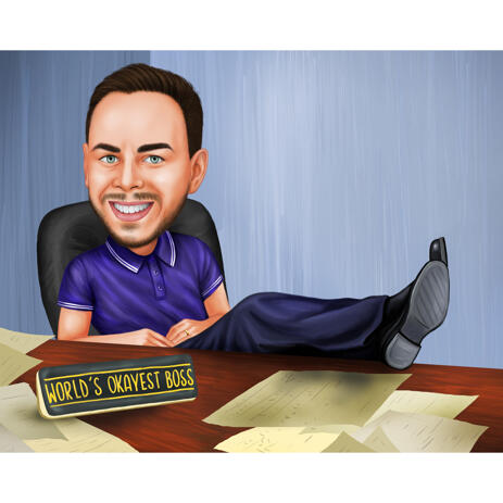 Custom Cartoon Single Person Gift Caricature for Boss Day in Color Style - example