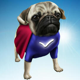 Aangepaste superheldkarikatuur van foto's met aangepaste achtergrond