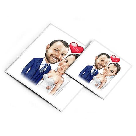 Printed Bride and Groom Caricature on Magnetes - example