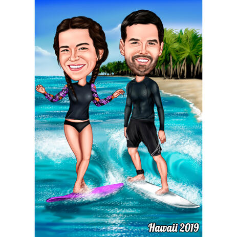 Couple Surf Colored Caricature Hand Drawn from Photos - example