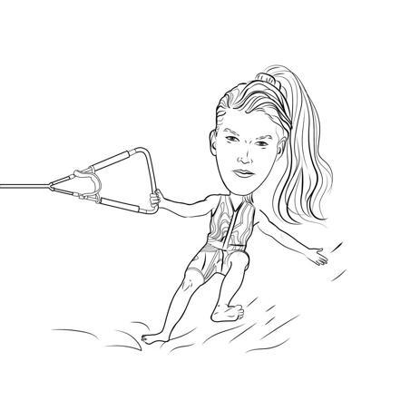 التزلج على الماء شخص كاريكاتير في نمط مخطط أبيض وأسود - example