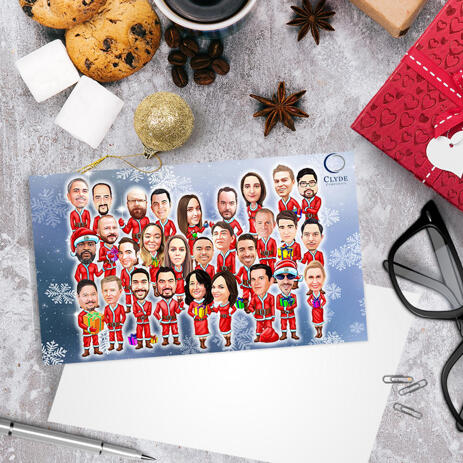 Corporate Company Group Santa's Caricature Drawing in Christmas Set of 10 Cards - example