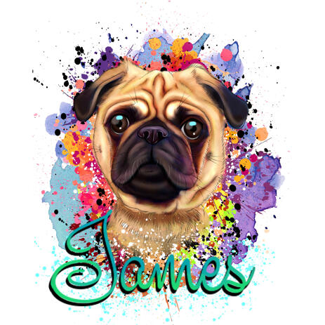 Charming Pug Portrait with Name in Watercolor Style For Custom Pet Lovers Gift - example